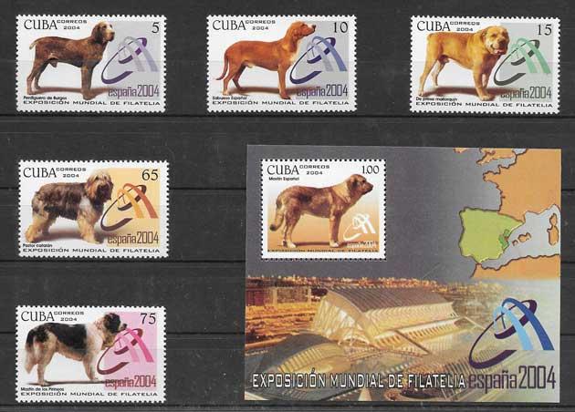 Sellos diversidad de perros Cuba 2004