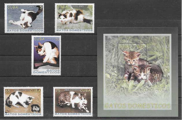 Sellos filatelia fauna gatos Cuba 2005