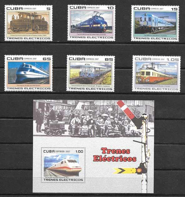 Colección sellos trenes eléctricos Cuba 2007