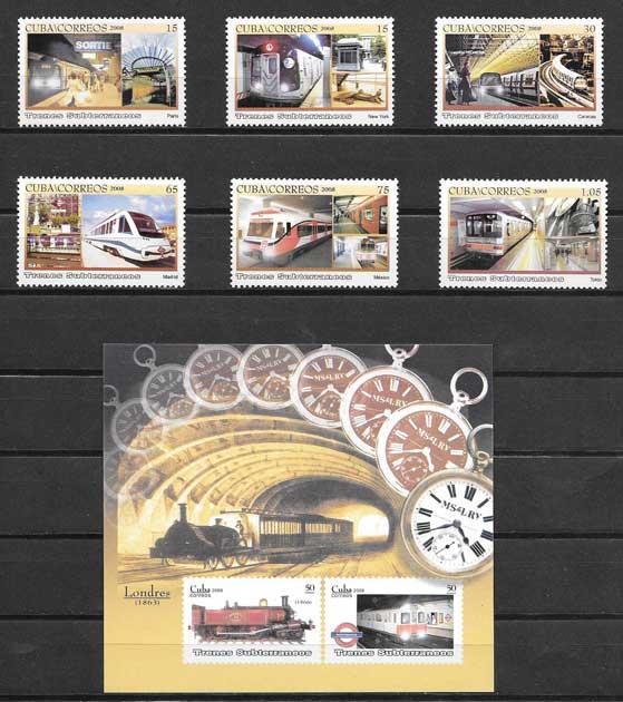 Colección sellos trenes subterráneos Cuba 2008