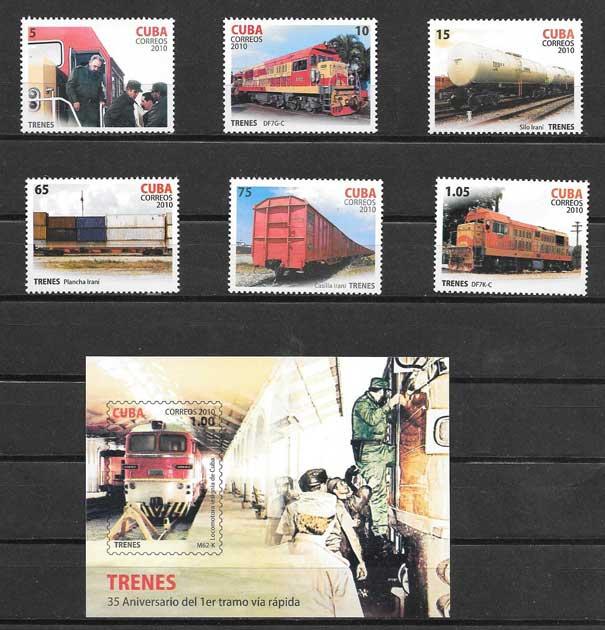 Colección sellos trenes de Cuba 2010