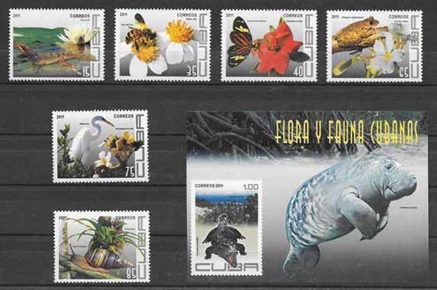 Colección sellos fauna y flora cubana