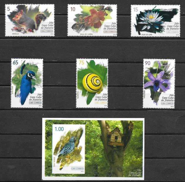 Colección sellos flora y fauna cubana