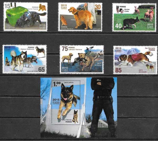Filatelia perros Cuba 2015