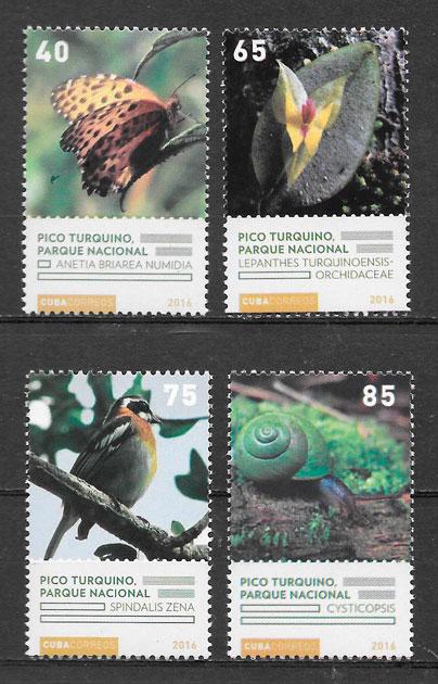 sellos fauna y flora Cuba 2016
