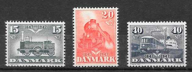 sellos trenes Dinamarca 1947