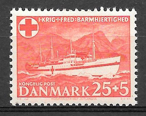 filatelia cruz roja Dinamarca 1951
