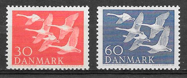 filatelia colección fauna Dinamarca 1956