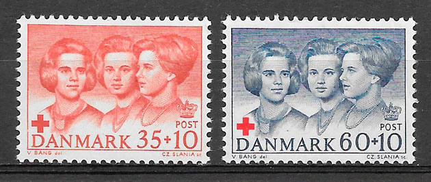 colección sellos cruz roja Dinamarca 1964