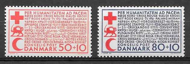 sellos cruz roja Dinamarca 1969