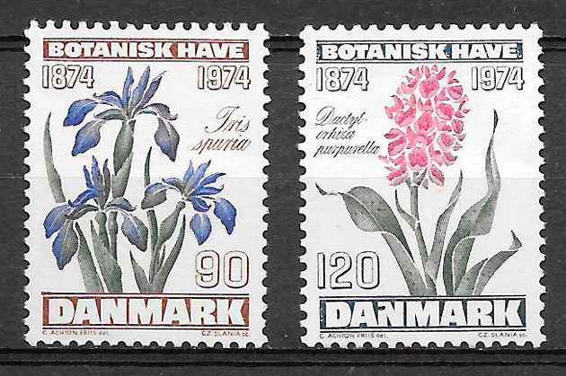 filatelia flora Dinamarca 1974