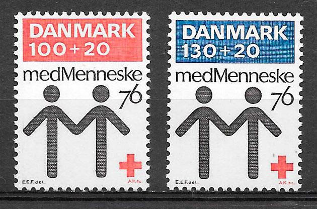 filatelia colección cruz roja Dinamarca 1976