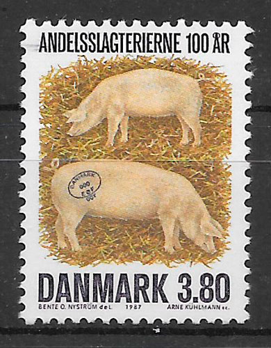 filatelia fauna Dinamarca 1987