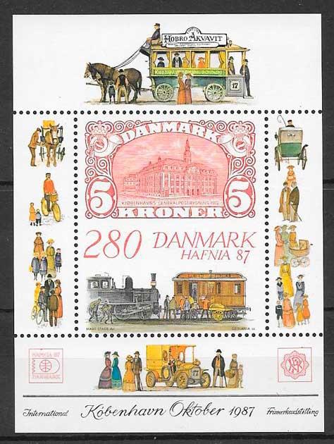 sellos colección trenes Dinamarca 1987