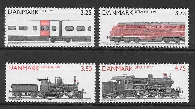 sellos colección trenes Dinamarca 1991