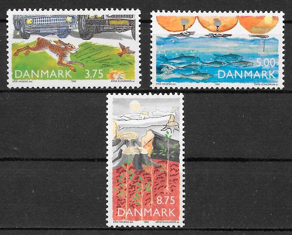 colección sellos 1992 fauna Dinamarca