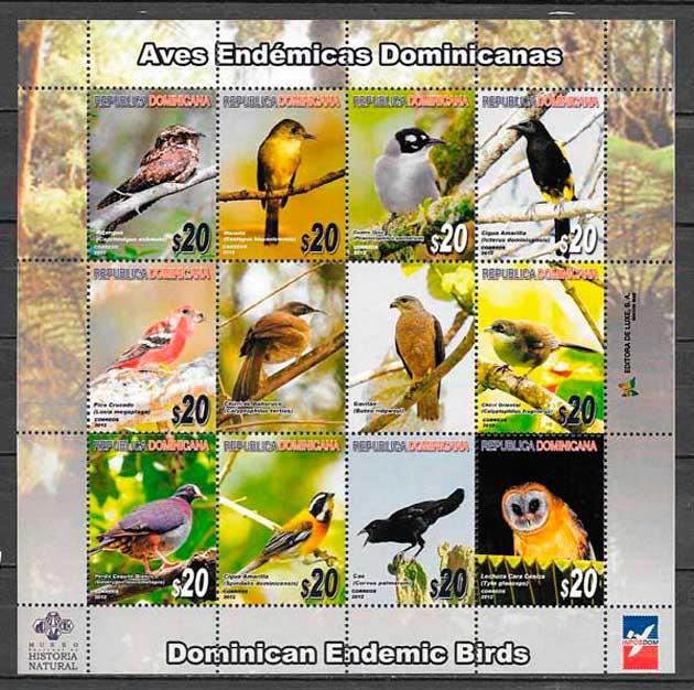 filatelia fauna Dominicana 2012