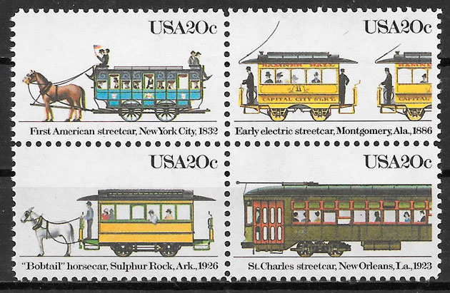 sellos trenes USA 1983