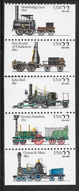 colección sellos trenes USA 1987