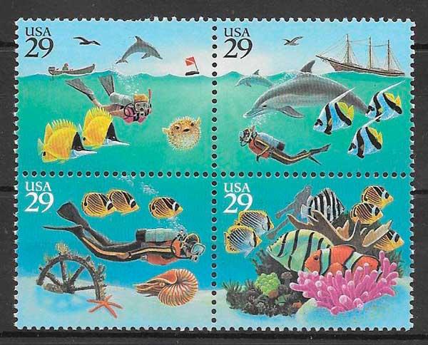sellos fauna 1994 USA