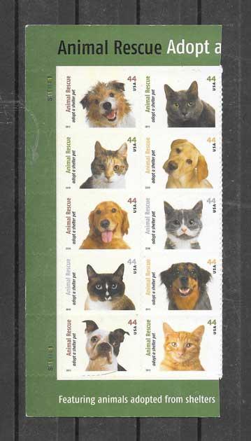 Sellos filatelia protección fauna - perros abandonados EE:UU