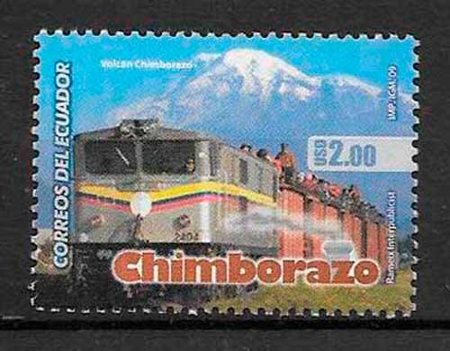 filatelia colección trenes Ecuador 2009