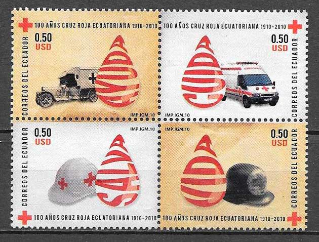 colección sellos cruz roja ecuador 2010