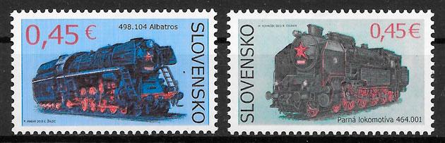 filatelia colección trenes Eslovaquia 2015