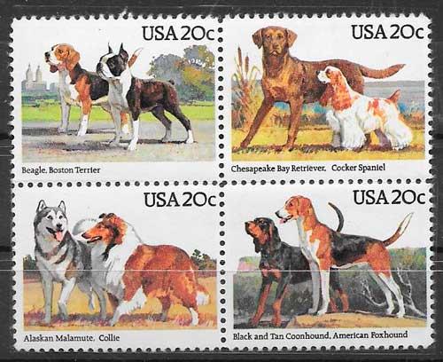 sellos gatos y perros EE:UU 1984