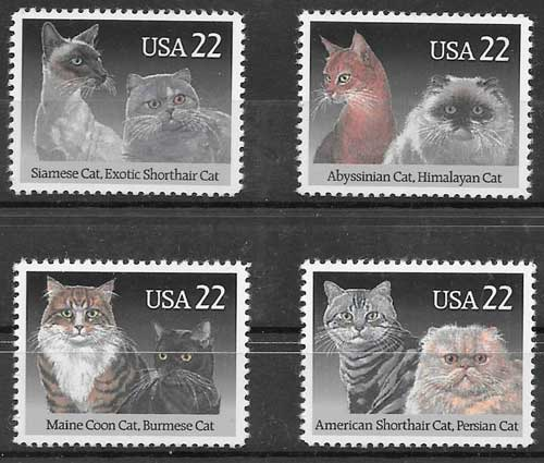 sellos gatos y perrros EE:UU 1988