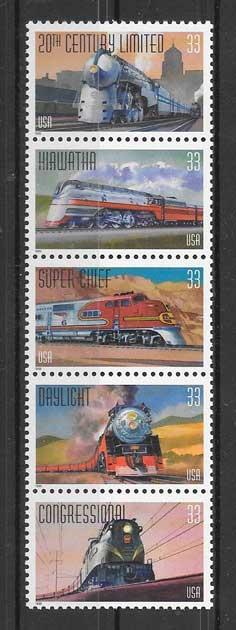 Colección sellos trenes antiguos de EE;UU
