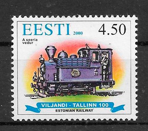 colección sellos trenes Estonia 2000