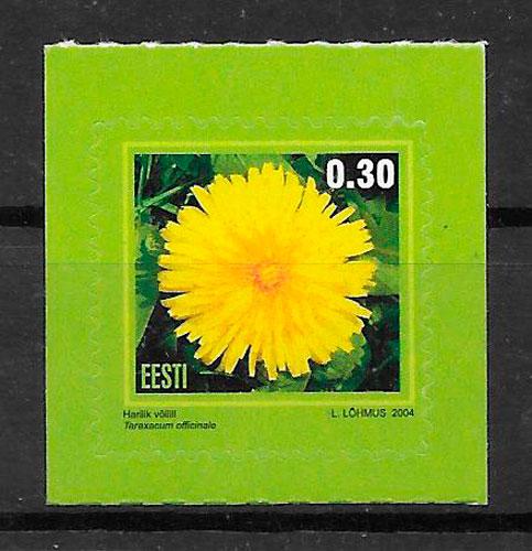 colección sellos flora Estonia 2004