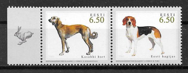 filatelia gatos y perros de Estonia 2005