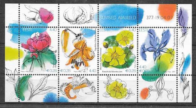 Colección Sellos flora diversa Estonia 2007