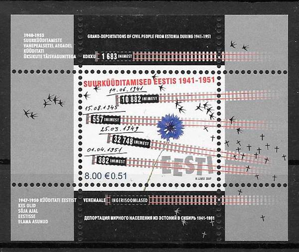 colección sellos trenes Estonia 2007