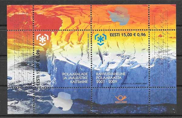 Sellos filatelia protección de las zonas polares Estonia