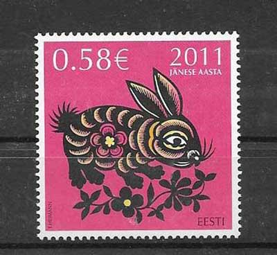 Sellos Estonia año lunar conejo -2011-01