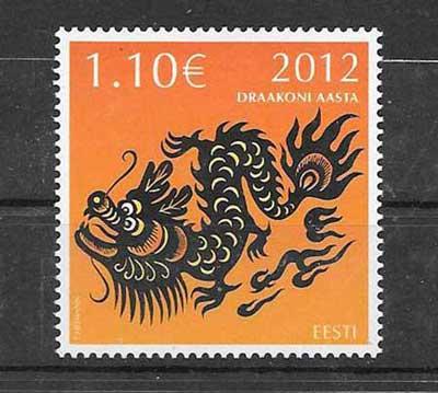 Sellos Estonia- año lunar dragón 2012-01