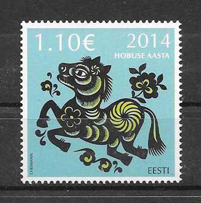 Sellos Estonia- año lunar caballo 2014-01