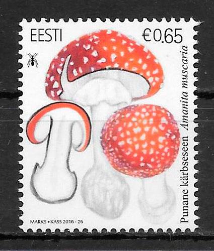 colección sellos setas Estonia 2016