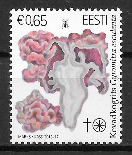 colección sellos setas Estonia 2018