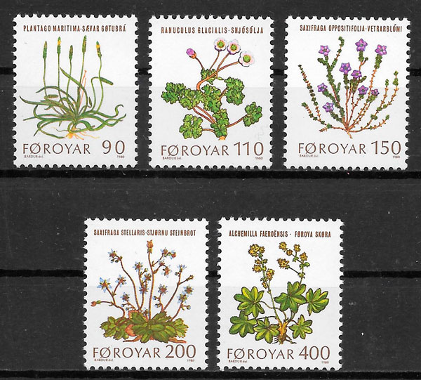 colección sellos flora Feroe