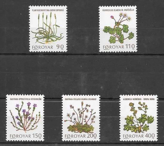 Filatelia Sellos flora de Feroe 1980