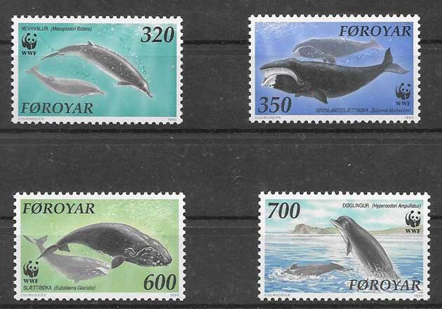 Estampillas fauna marina de Feroe 1990