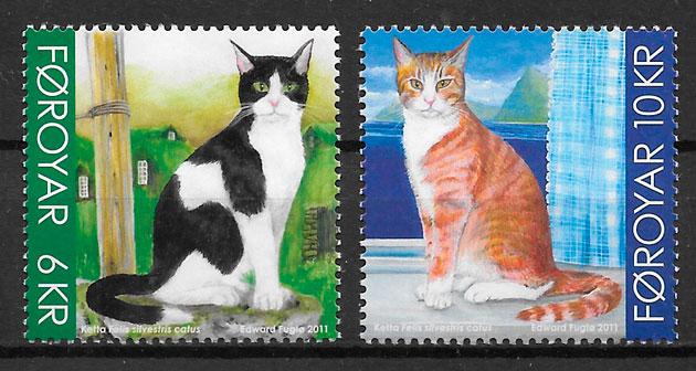colección sellos gatos Feroe 2011
