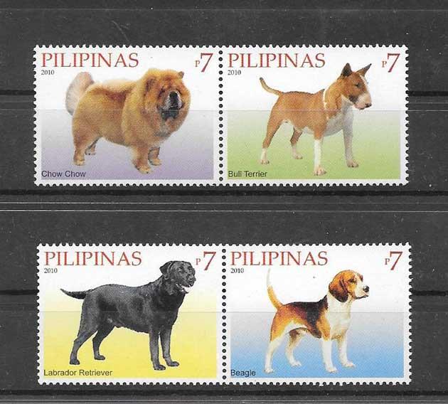 Sellos serie de fauna perros Filipinas