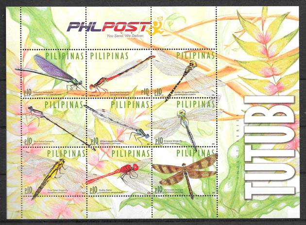 filatelia colección fauna Filipinas 2015