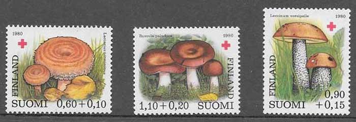 Sellos setas Finlandia 1980