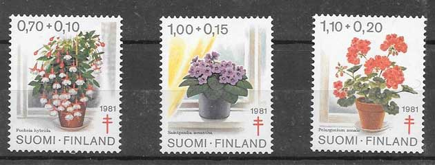 sellos colección flora Finlandia 1981